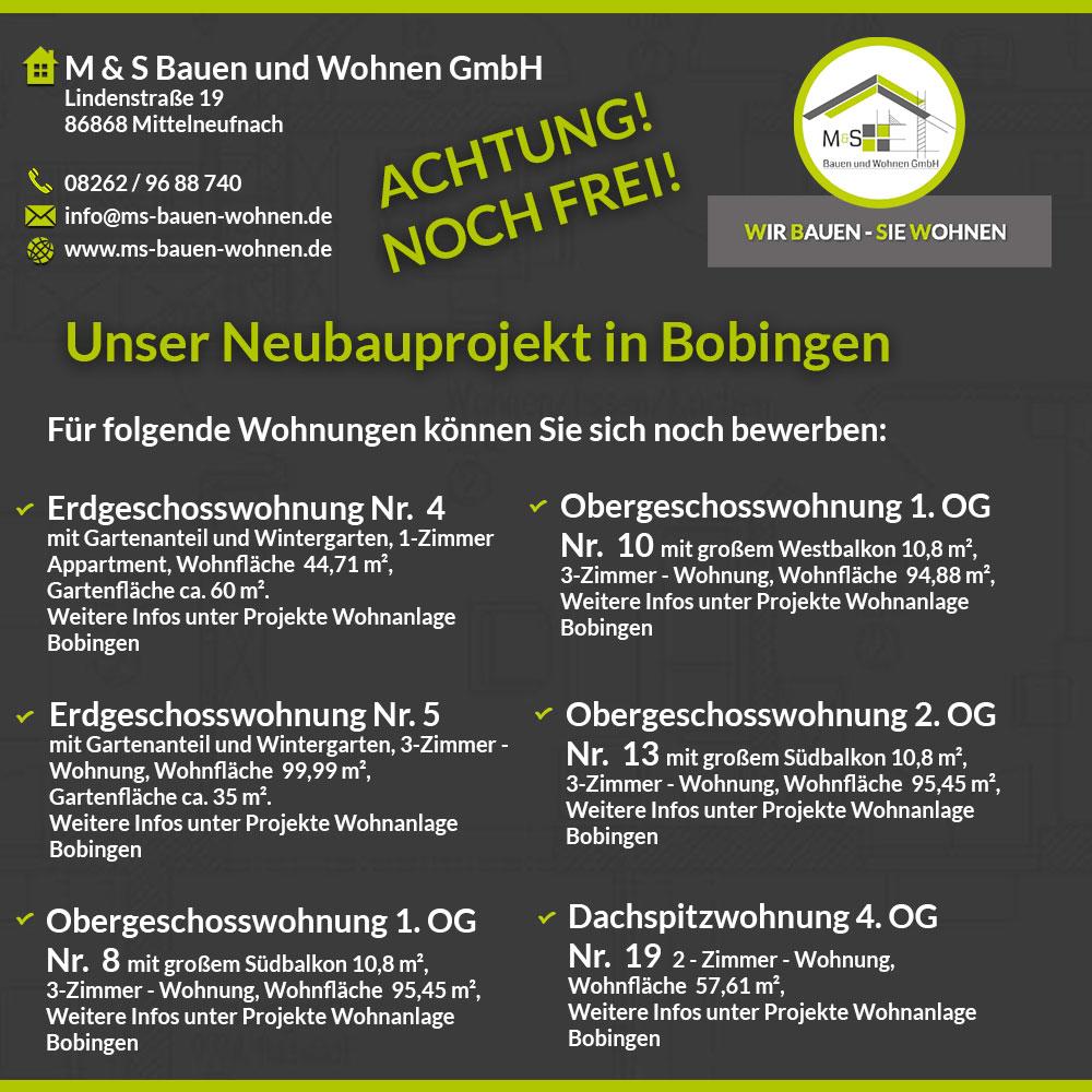 Neubauprojekt Bobingen Freie Wohnungen